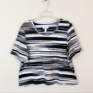 D&Co. Active • Striped Cropped Tee XL